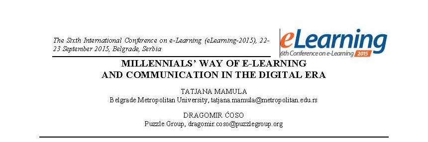 Millennials' way of e-learning and communication in the digital era
